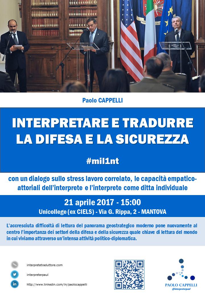 Locandina interpretare difesa e sicurezza Paolo Cappelli